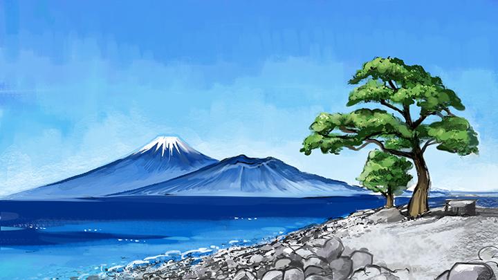 金スマ富士山イラスト